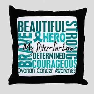 Tribute Square Ovarian Cancer Throw Pillow
