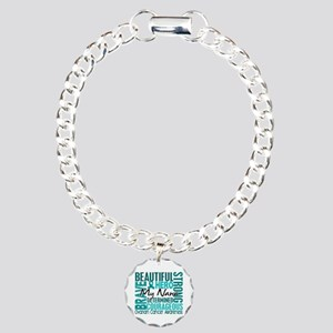 Tribute Square Ovarian Cancer Charm Bracelet, One