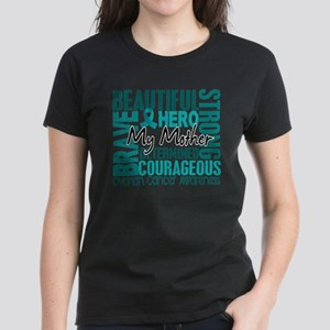Tribute Square Ovarian Cancer Women's Dark T-Shirt