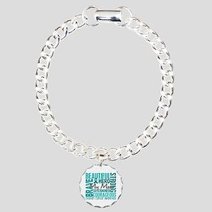 Tribute Square Ovarian Cancer Charm Bracelet, One