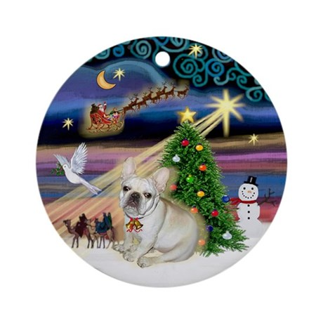 Christmas Magic French Bulldog 1 Ornament (Round)