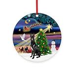 Christmas Magic Black Great Dane Ornament (Round)