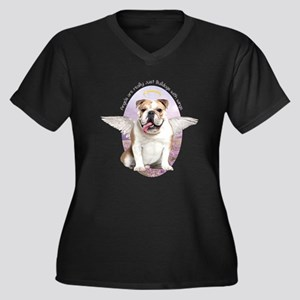 Bulldog Angel Women's Plus Size V-Neck Dark T-Shir
