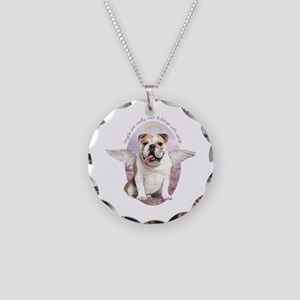 Bulldog Angel Necklace Circle Charm