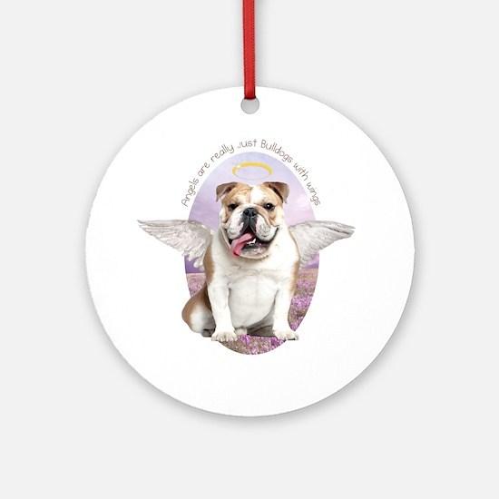 Bulldog Angel Ornament (Round)