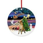 Christmas Magic fawn Great Dane Ornament (Round)