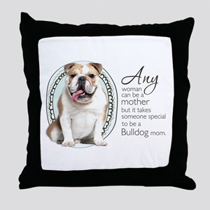 Bulldog Mom Throw Pillow