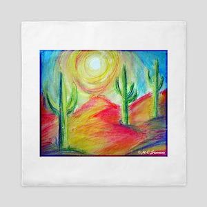 Desert, Sunset, art, Queen Duvet