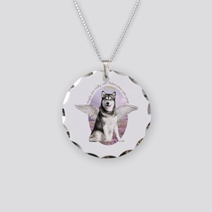Malamute Angel Necklace Circle Charm