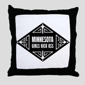 Minnesota Girls Kick Ass Throw Pillow