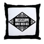 Mississippi Girls Kick Ass Throw Pillow