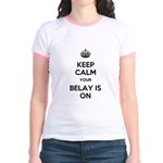 Keep Calm Belay is On Jr. Ringer T-Shirt