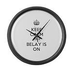 Keep Calm Belay is On Large Wall Clock