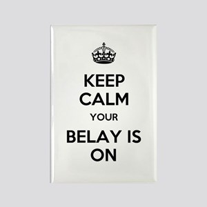 Keep Calm Belay is On Rectangle Magnet