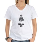 Keep Calm and Pedal On Women's V-Neck T-Shirt