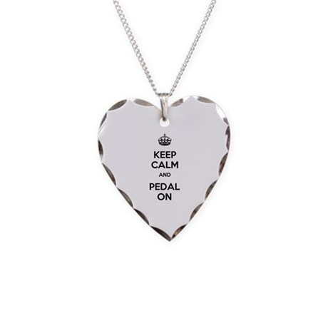 Keep Calm and Pedal On Necklace Heart Charm