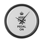 Keep Calm and Pedal On Large Wall Clock