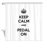 Keep Calm and Pedal On Shower Curtain