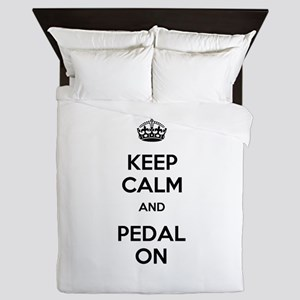Keep Calm and Pedal On Queen Duvet