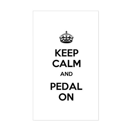 Keep Calm and Pedal On Sticker (Rectangle)