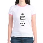 Keep Calm and Rock On Jr. Ringer T-Shirt