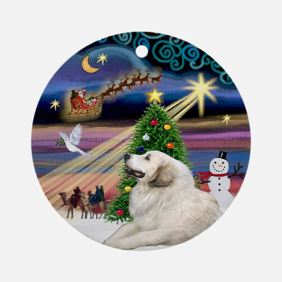 Xmas Magic Great Pyrenees (1) Ornament (Round)