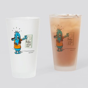 Superstitious Doggy - Friday Drinking Glass