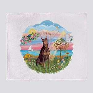 AngelStar-Red Doberman Throw Blanket