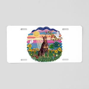 AutumnSun-Red Dobie Aluminum License Plate