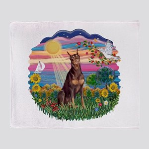 AutumnSun-Red Dobie Throw Blanket