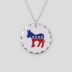 Democrat Donkey Necklace Circle Charm