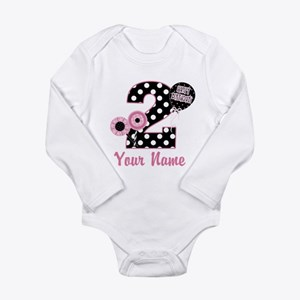 2nd Birthday Pink and Black Long Sleeve Infant Bod