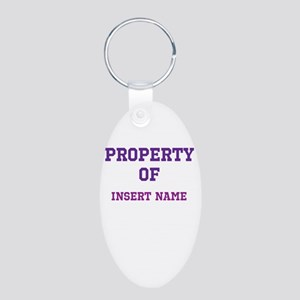 Customizable (Property Of) Aluminum Oval Keychain