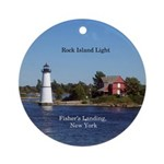 Rock Island Lighthouse Round Ornament