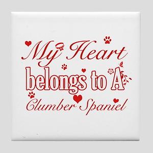 Clumber Spaniel Dog Designs Tile Coaster