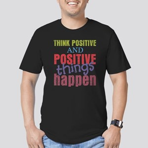 Think Positive and Pos Men's Fitted T-Shirt (dark)