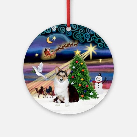 Xmas Magic Cardigan Welsh Corgi Ornament (Round)
