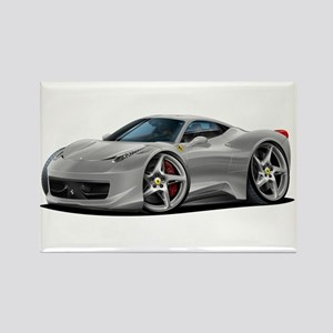 458 Italia Silver Car Rectangle Magnet