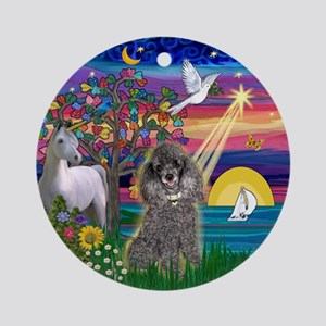 Magical Night and Silver Poodle Ornament (Round)