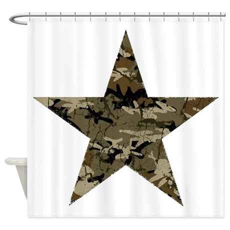 Star, distressed camo Shower Curtain