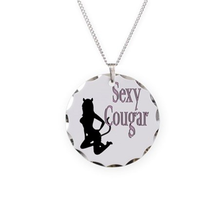 Flirty Hot Sexy Cougar Necklace Circle Charm
