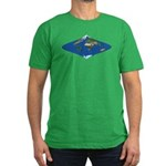 World Map Curved Rhombus: Men's Fitted T-Shirt (da