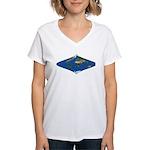World Map Curved Rhombus: Women's V-Neck T-Shirt