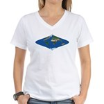 World Map Curved Rhombus: Women's V-Neck T-Shirt