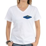 World Map Curved Rhombus: Women's 2 V-Neck T-Shirt