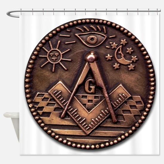 Bronze Freemasonry Shower Curtain