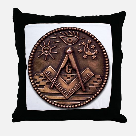 Bronze Freemasonry Throw Pillow