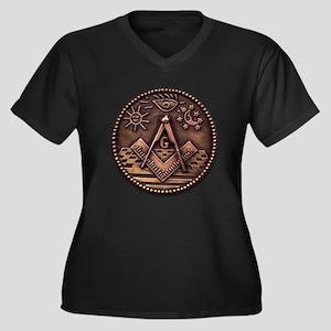 Bronze Freemasonry Women's Plus Size V-Neck Dark T
