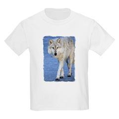Approaching Wolf on Ice Kids T-Shirt