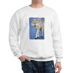 Approaching Wolf on Ice Sweatshirt